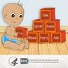 Illustration of small child playing with blocks