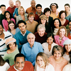 Stock photo of diverse group of adults of many ages and racial groups