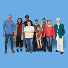 Stock photograph of a diverse group of people.