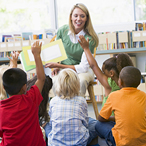 Stock image of children in a preschool classroom
