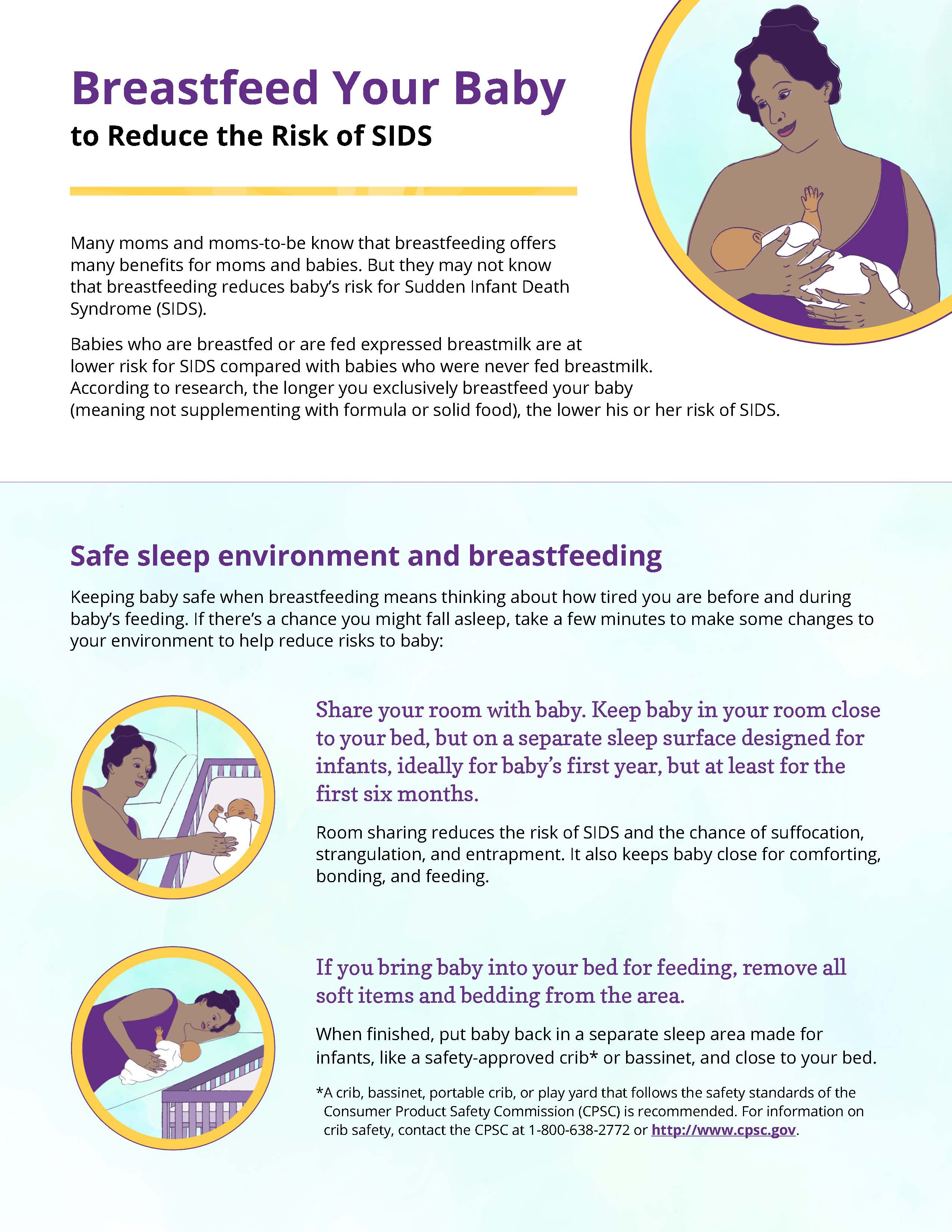 Front of Breastfeed Your baby to Reduce the Risk of SIDS Handout