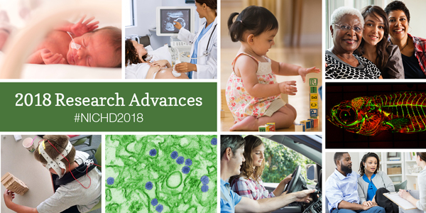 "Infocard has the text ""2018 Research Advances #NICHD2018"" in a green box surrounded by various images"