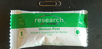 The nutrition supplement given in the trial, in its plastic wrapper.