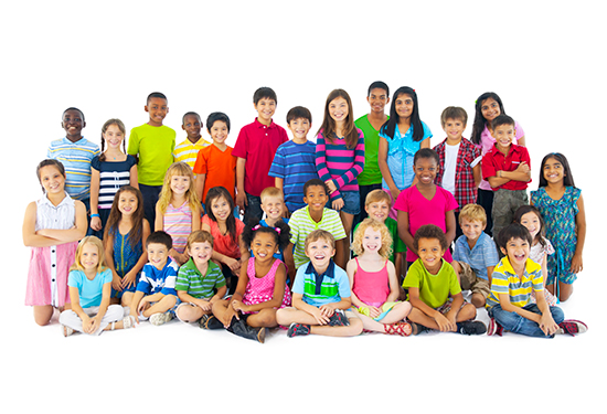 Stock image of a group of children.