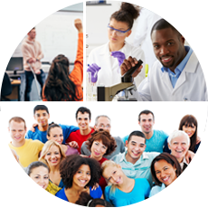 Photo collage of stock images of students in a classroom, researchers, and a diverse group of people
