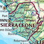 Map showing Sierra Leone and Liberia.