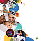 Colorful circles with images of a rehabilitation patient and nurse, a child eating, an ultrasound of a fetus, a biracial couple and infant, fluorescent cell microscopy, and a female researcher pipetting in the lab.