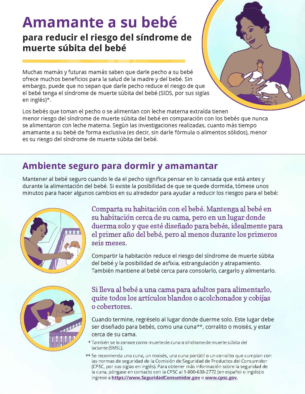 Front side of Spanish handout on breastfeeding and SIDS