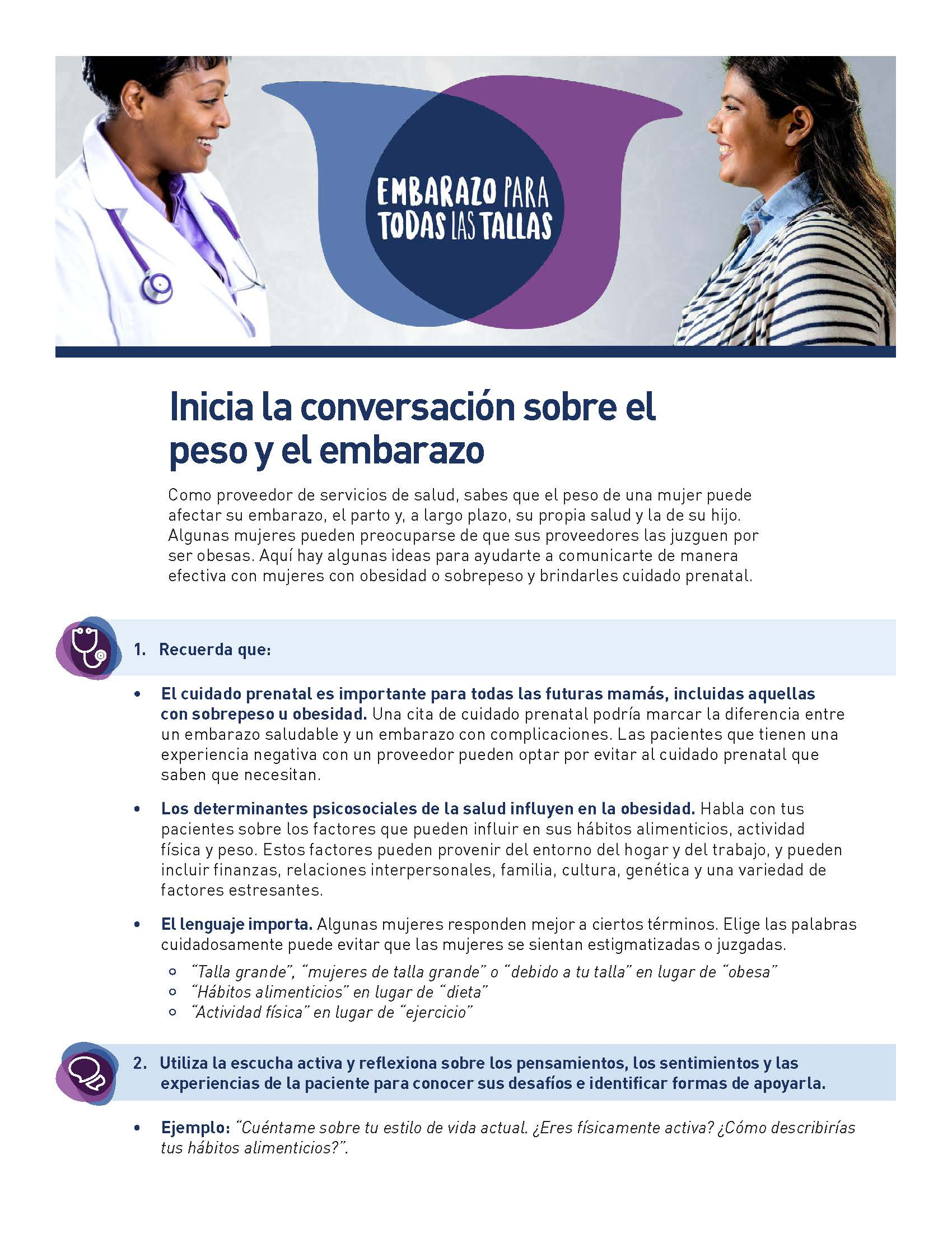 Front page of the Pregnancy for Every Body Provider Conversation Starter Tipsheet in Spanish