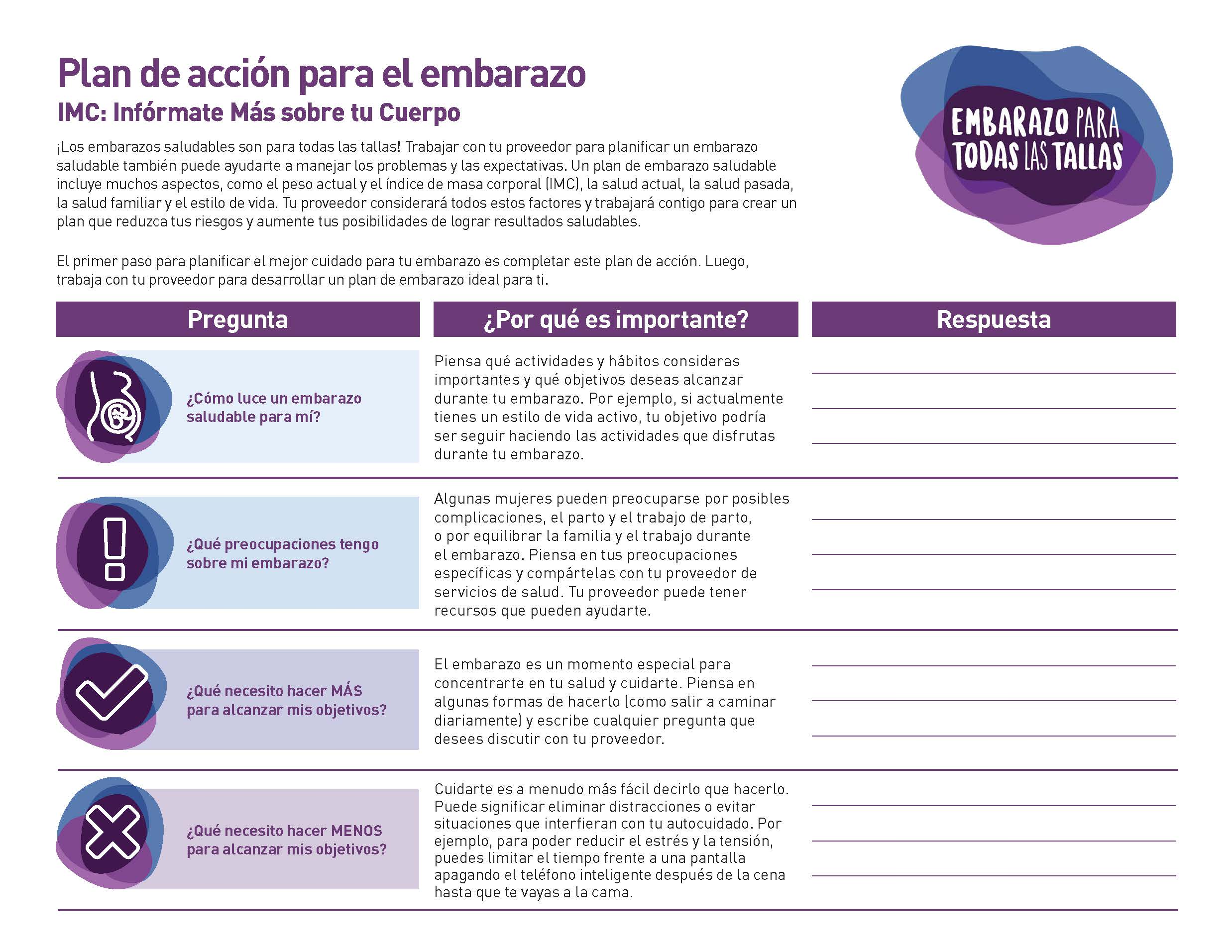 Front page of the Pregnancy for Every Body Pregnancy Management Action Plan in Spanish