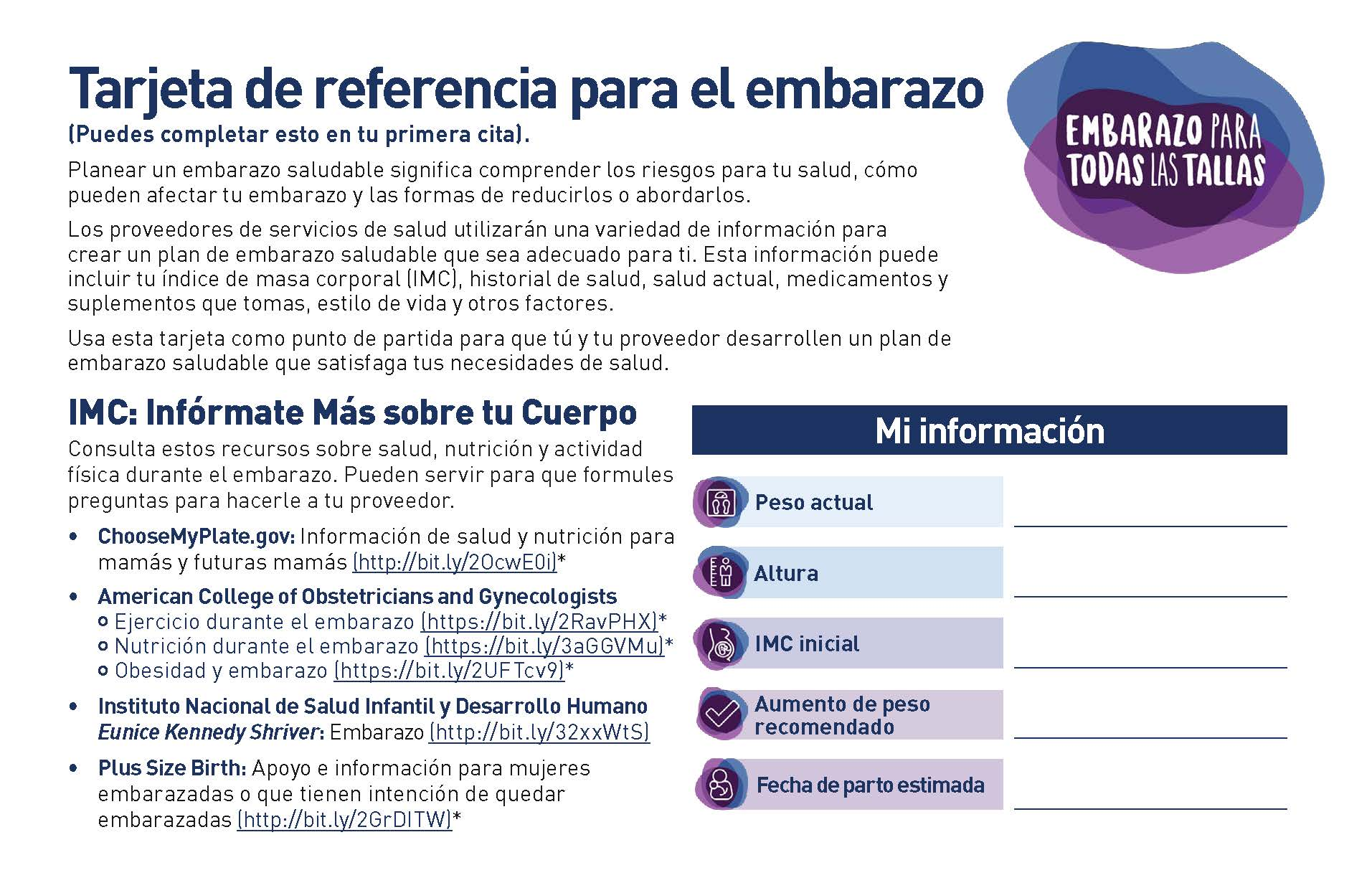 Front page of the Pregnancy for Every Body Pregnancy Reference Card in Spanish