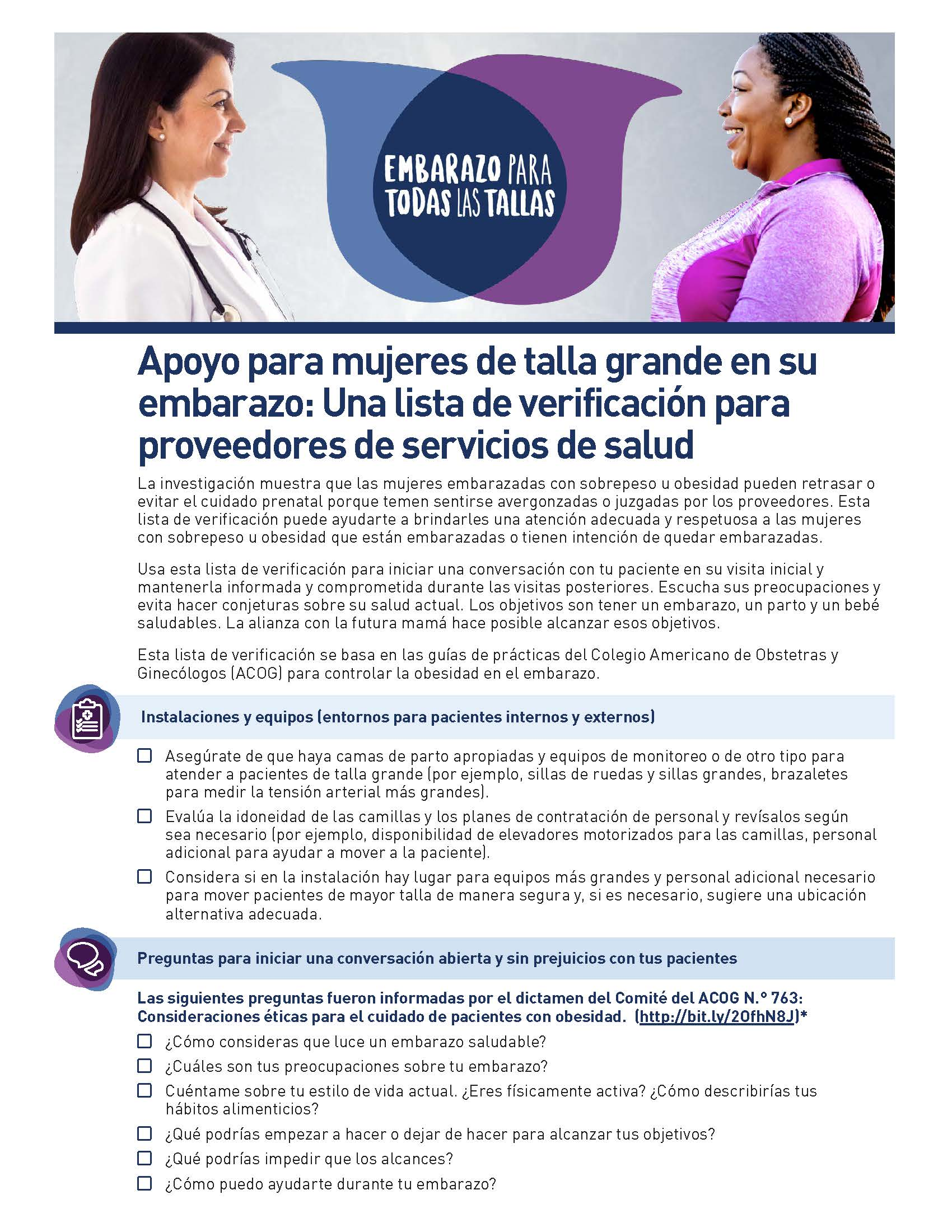 Front page of the Pregnancy for Every Body Checklist for Providers in Spanish