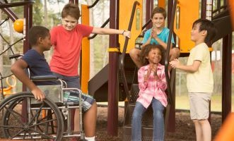 Children of all abilities on the playground