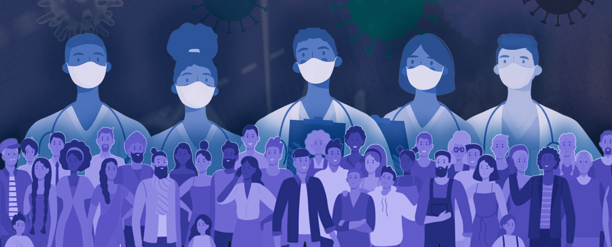 Conceptual illustration of healthcare providers and researchers wearing masks superimposed over a crowd of diverse people.