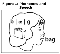 Figure 1: Phonemes and Speech: illustration of child pronouncing bag. The child has an image of a bag in its head next to the phonemes of bag.
