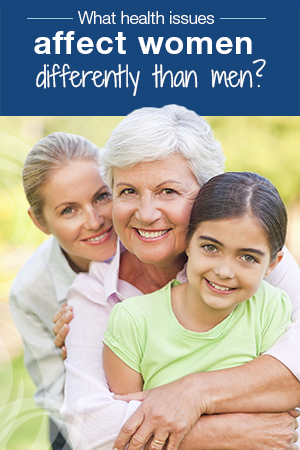 three generations of women smiling; text on top: What health issues affect women differently than men?
