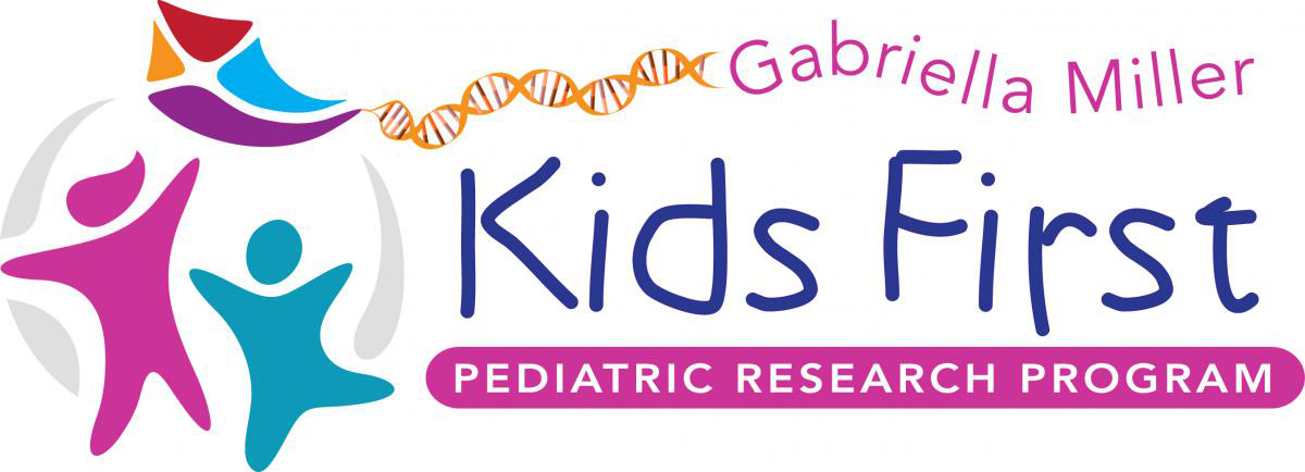 Graphic logo of the Kids First program. The text reads Gabriella Miller Kids First Pediatric Research Program. The icon includes a pink figure and a teal figure underneath a kite that has a string of DNA as its tail.