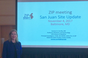 Dr. Zorrilla at the November 2017 meeting of ZIP study investigators in Baltimore, MD.