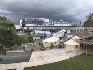 Tents provided the U.S. Department of Health and Human Services help treat emergency overflow at the Puerto Rico Medical Center in San Juan.