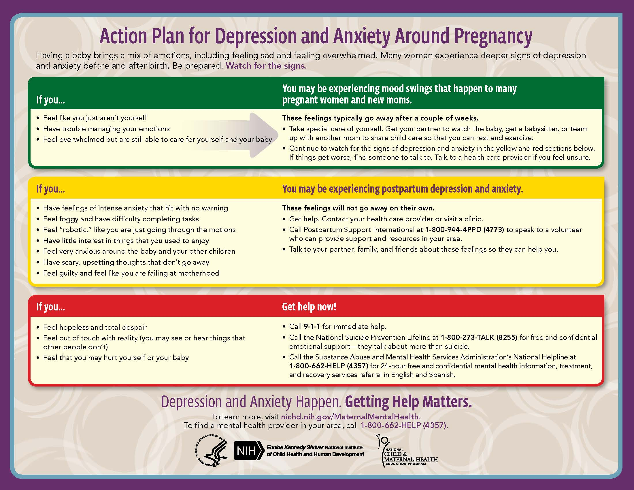 Moms' Mental Health Matters Action Plan Tear Pad