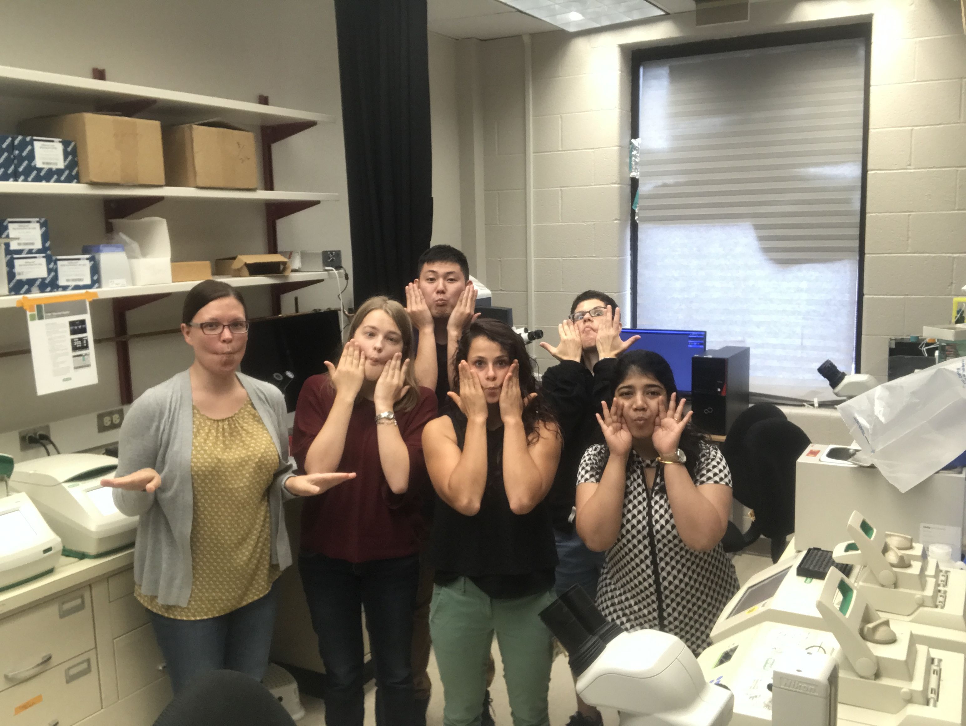 Drerup Lab staff in 2018, making silly faces.