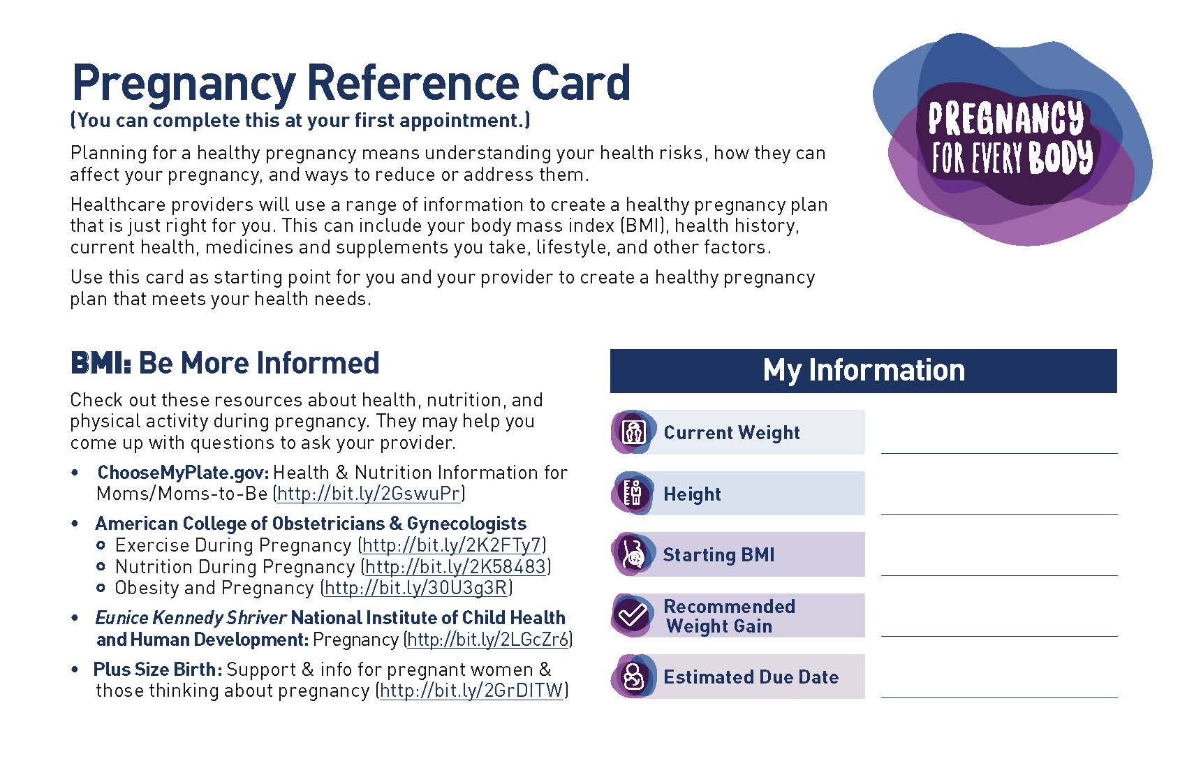 Image of the Pregnancy for Every Body Factsheet: Pregnancy Reference Card.
