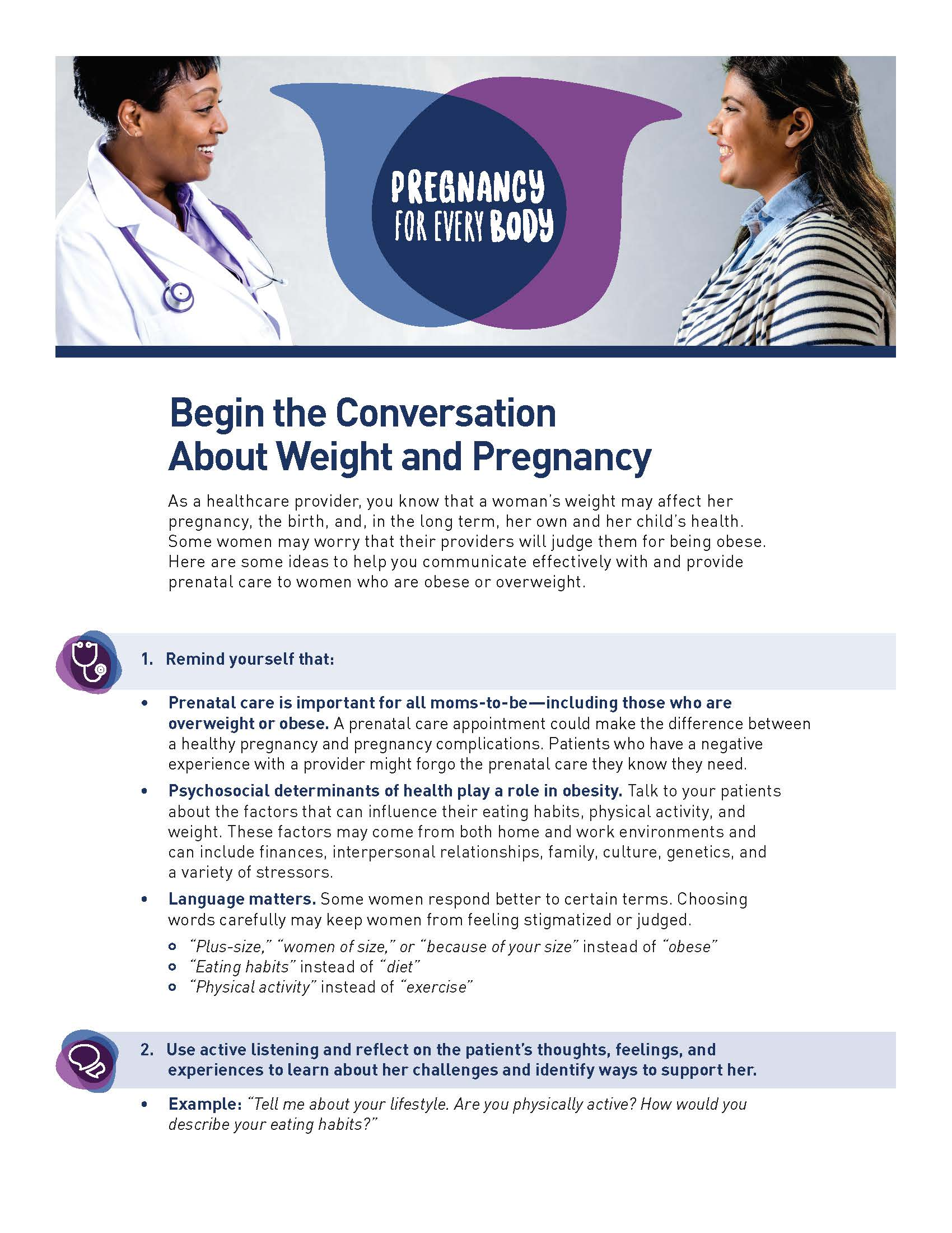 Image of the Pregnancy for Every Body Factsheet: Begin the Conversation About Weight and Pregnancy.