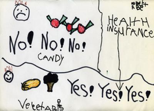 Child's drawing depicting pictures of candy next to an unhappy face and the words of No! No! No!, and pictures of vegetables next to a happy face and the words of Yes! Yes! Yes!; health insurance rate is indicated as going down when one moves from candy to vegetables.