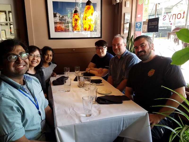 Group photo of lab out to lunch in May 2019.