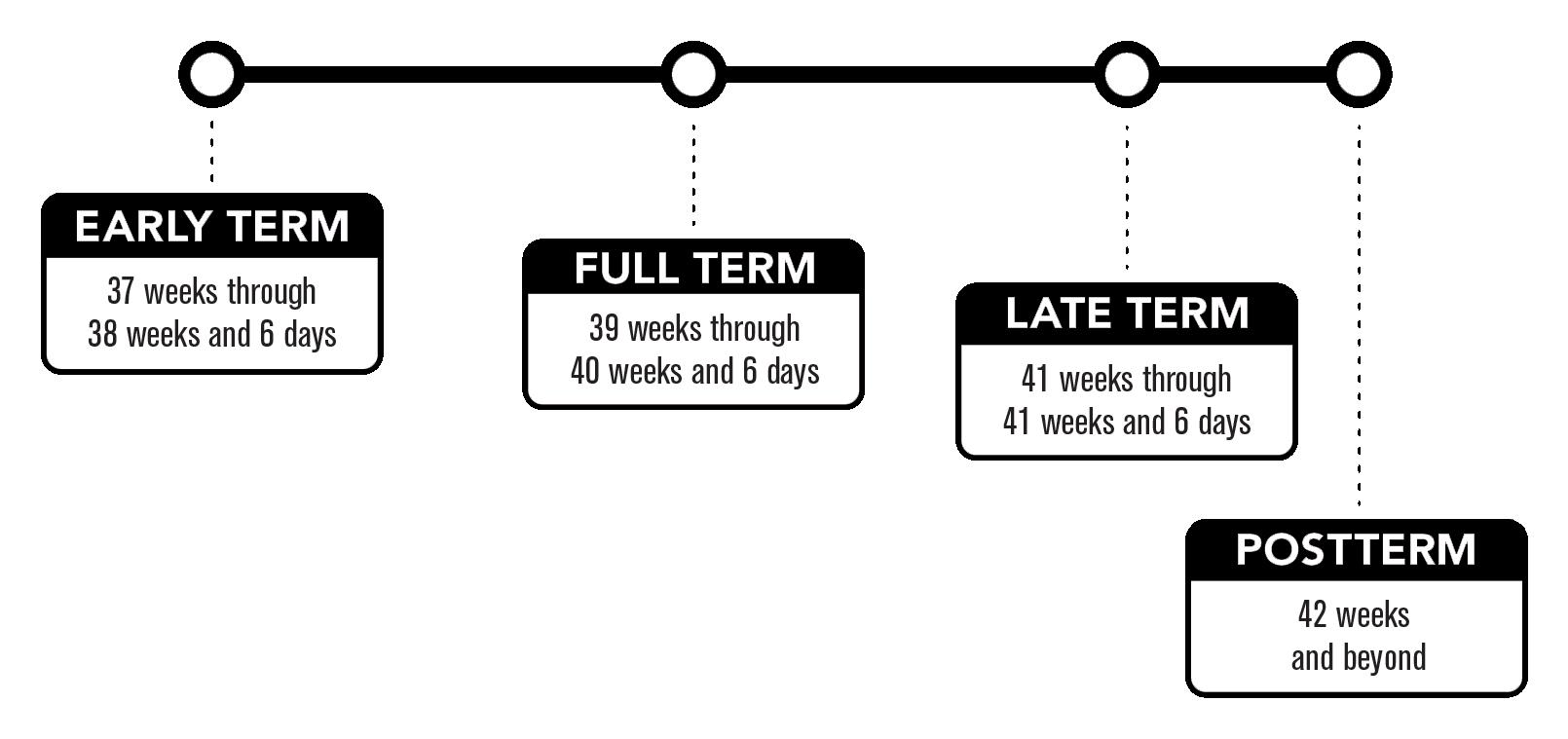 El término temprano es de 37 semanas a 38 semanas y 6 días.  El término completo es de 39 semanas a 40 semanas y 6 días.  El término tardío es de 41 semanas a 41 semanas y 6 días.  El post término es de 42 semanas y más