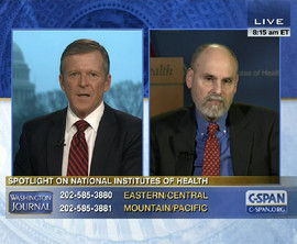 C-SPAN host Steve Scully with Alan E. Guttmacher