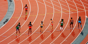 women's track and field at the start line