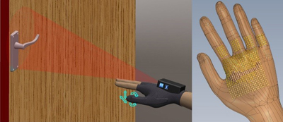 Illustrations show an arm with a hand assistive device approaching a door handle and a hand with braille-like dots that convey the shape of the door to the user.