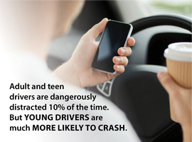 Teen holding cell phone with Caption explaining that while both adults and teens are dangerously distracted 10 percent of the time, teens are more likely to crash.