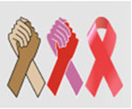 an illustration of two sets of hands clasped and a pink ribbon