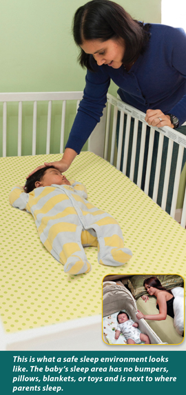 Mother next to crib, comforting sleeping baby with text: This is what a safe sleep environment looks like. The baby's sleep area has no bumpers, pillows, blankets, or toys and is next to where parents sleep.