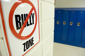 No Bullying sign in school hallway