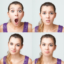 woman showing different facial expressions