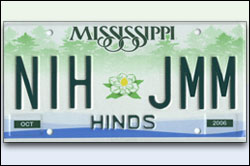 "Mississippi lisence plate with ""NIH JMM"""