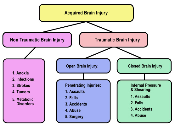 Acquired Brain Injury could be non traumatic brain injury (anoxia, infections, strokes, tumors, metabolic disorders) or traumatic bran injury which could be open brain injury (penetrating injuries include assults, falls, accidents, abuse, surgery) or closed brain injury (internal pressure & sheering from assults, falls, accidents, abuse)